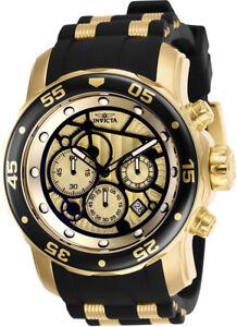 Invicta-Men-039-s-Pro-Diver-Chrono-100m-Gold-Plated-S-Steel-Silicone-Watch-25709