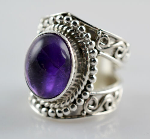 US-AMY-004 Amethyst Ring 925 Solid Sterling Silver Handmade Jewelry
