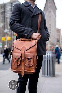 Vintage-Large-Men-039-s-Leather-Backpack-Bag-Shoulder-Briefcase-Rucksack-Laptop-Bag