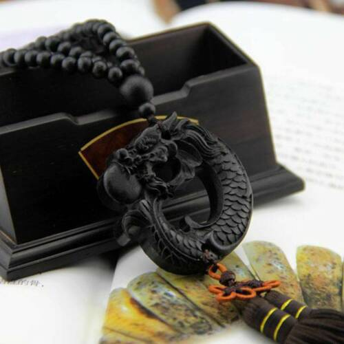 Ebony Wood Carving Chinese Dragon Fengshui Sculpture Prayer Car Pendant Jewelry