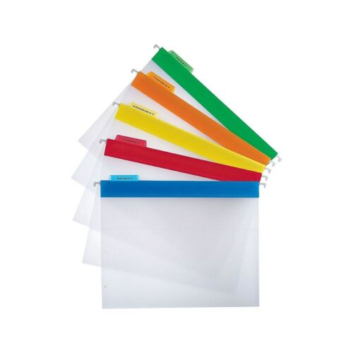 Staples Poly Hanging File Folders Letter Size Clear with Assorted Tabs 25//BX
