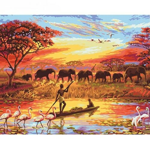 Elephant Nature Painting Paint By Number DIY Kit Wall Art Home Decor Acrylic New