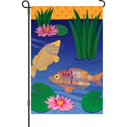 """Fish in Golden Pond Brilliance Garden Size Flag PR 51655 ..4. 13/"""" x 18/"""" Approx"""