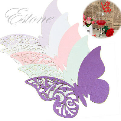50/100Pcs Butterfly Craft Escort Paper Card Wine Glass Decor For Wedding Party