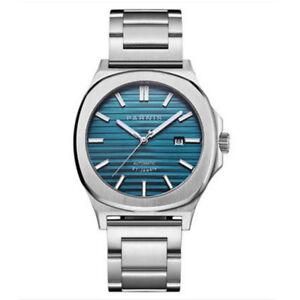 Luxus-44mm-PARNIS-Blau-dial-Saphirglas-Glass-Miyota-Automatisch-Uhr-men-039-s-Watch