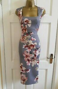 Brand-New-Women-039-s-Grey-Floral-Print-Midi-Party-Bodycon-Pencil-Dress-Size-8-16