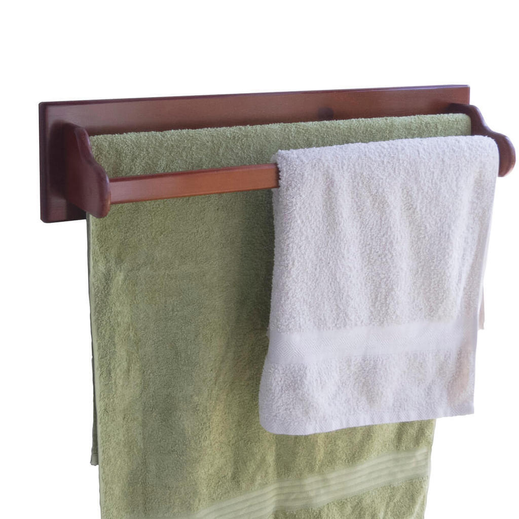 Towel Rail Wooden - Wall Mounted - 2 Bars - 27 inch   700mm Bath Towels