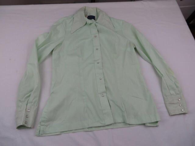 Vtg 80s Panhandle Slim Womens Green Western Cowboy Shirt Sz 16 Large Pearl Snap