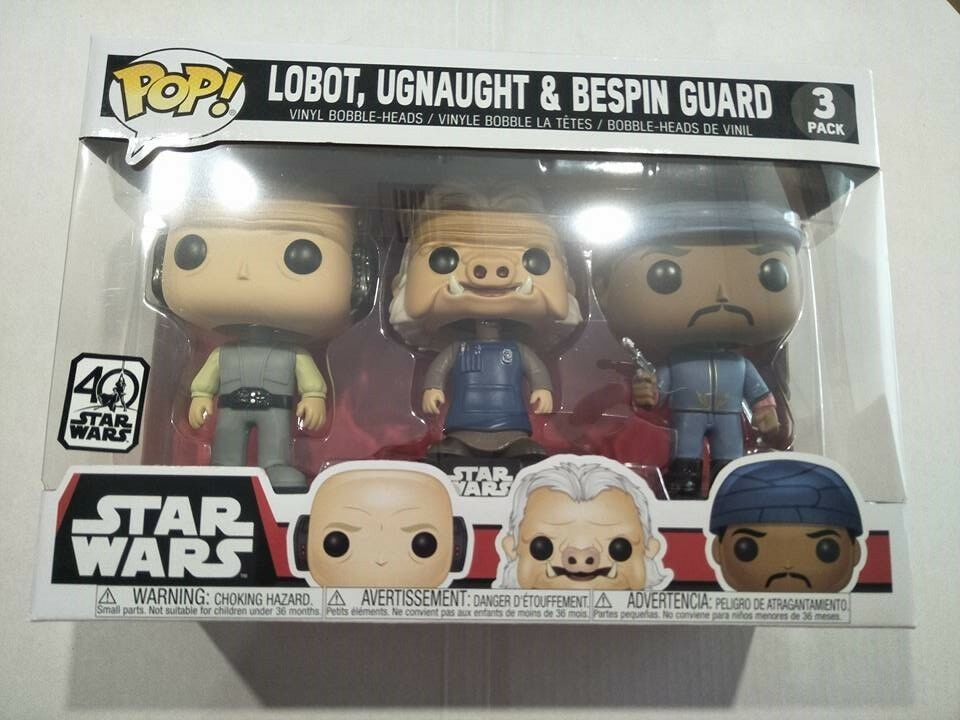 Funko pop vinyl figure Star Wars 3 pk Lobot Ugnaut Bespin Guard BNIB 40 years