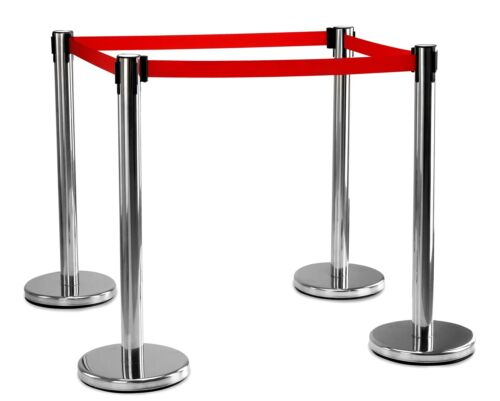 4x Crowd Control Barrier Security Post Extractable Belt Disco Bouncer Airport