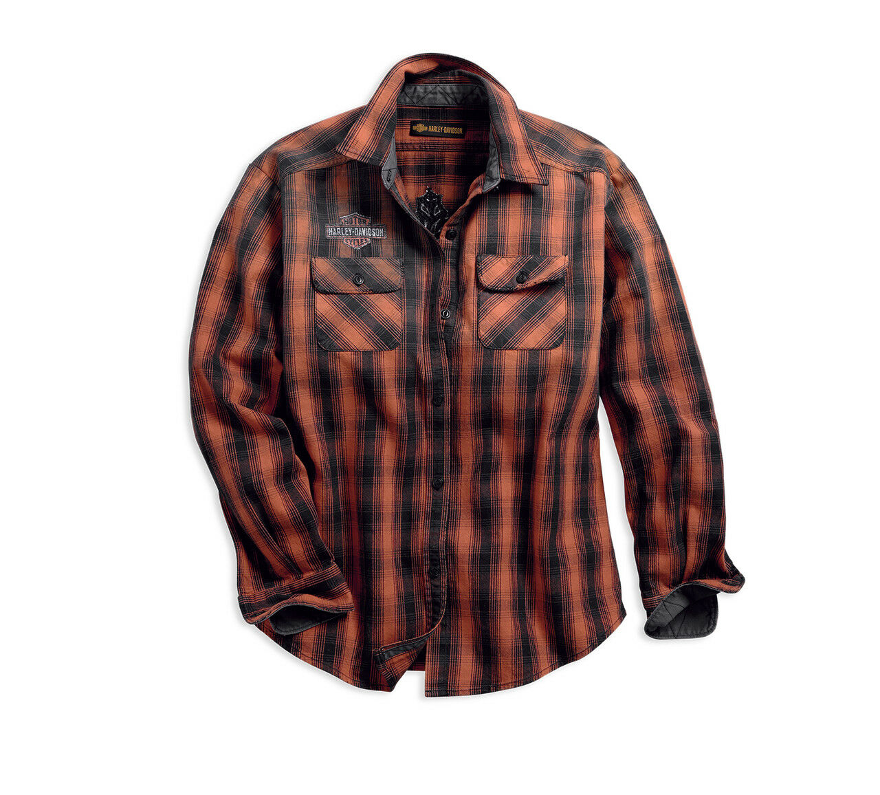 Harley-Davidson® Woherren Oak Leaf Plaid Flannel Relaxed Fit Shirt - XL