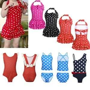 f0f6a90a7b Image is loading Toddler-Kids-Girls-Tankini-Polka-Dots-Swimwear-Swimsuit-