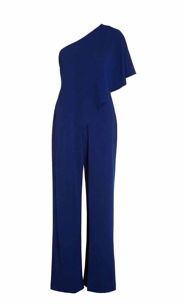 Bnwt Adrianna Papell Bleu Marine Asymétrique Une Épaule Combinaison Taille M