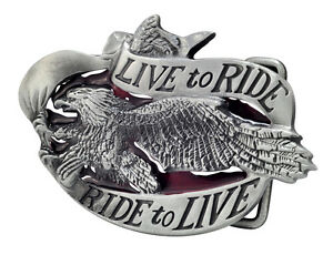 LIVE-TO-RIDE-Eagle-Belt-Buckle-Biker-Motorcycle-Unique-Metal-New-Hip-Cool