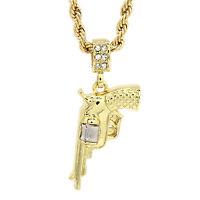 Gold Tone Hip Hop Gangster Gun Pistol Revolver Rope 4mm 24 Necklace Pendant Tch