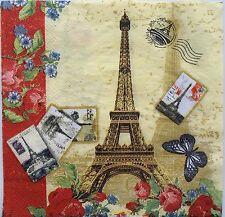 2 single paper napkins decoupage collection Post card Paris Eiffel Tower France