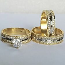 Trio 3 Pc 14K yellow Gold round created Diamond Engagement Wedding Band Ring Set