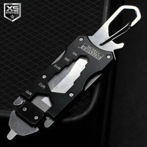 Black Multifunction Tactical EDC Mini Pocket Knife Survival Multitool Keychain