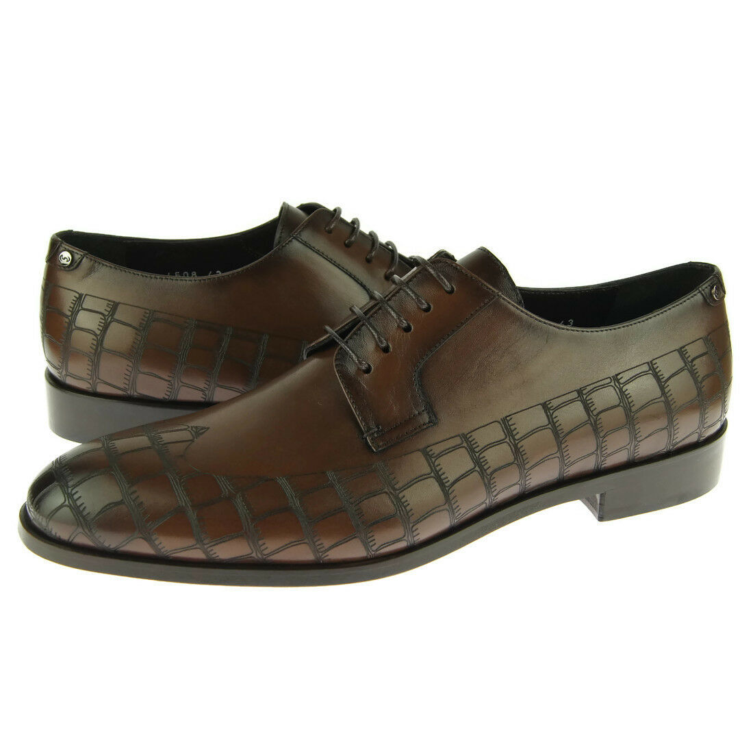 Corrente 4508 Crocodile Print Derby, Men's Lace-up Oxford Shoes, Brown