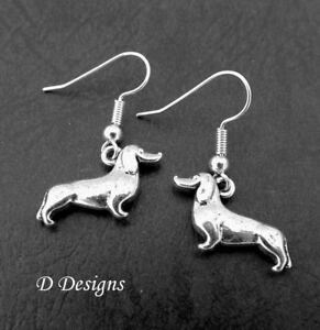 Image Is Loading Dog Earrings Sterling Silver Dachshund Sausage Jewellery