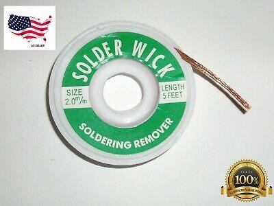 2.0mm Desoldering Braid Solder Remover Spool Copper Wick 5 ft 1.5m USA Seller