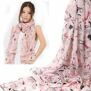 Sale-Pink-Long-Wide-Chiffon-Silk-Scarf-Shawl-Lady-039-s-Birthday-Valentine-Present