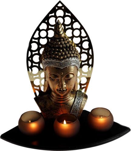 Large 33cm Thai Buddha Head Bust Ornament 3 Tea Light Candle Holders