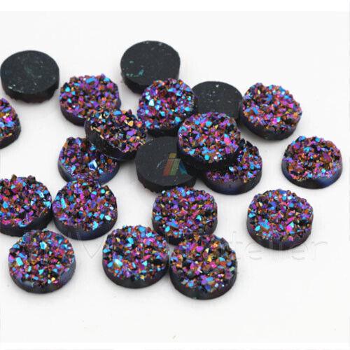 8 x Resin DRUZY Flatback 12mm Round Cabochons Charms Craft Embellishment