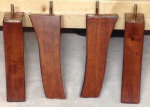 """4596 Furniture Legs Triangle Feet Couch Chair Ottoman Sofa 2.5/"""" tall Wood Oak 4"""