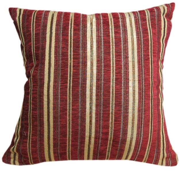 Wd30Ba Gold on Red Damask Chenille Stripes Throw Cushion Cover/Pillow Case *Size
