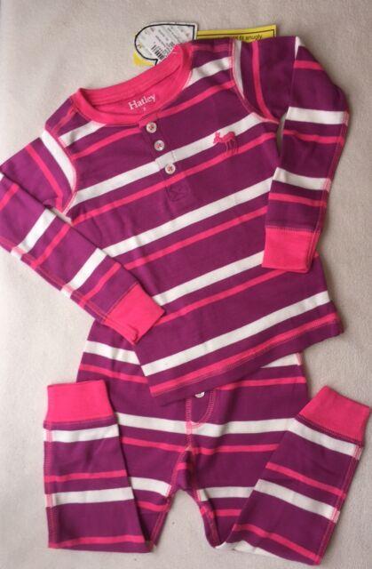 ae54468f2 New Hatley Girls Henley Rose Pink White Striped 2 Piece PJs sz 2