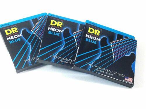 Dr Gitarrensaiten 3 Packung Elektrisch Neon Blau 10-46 M