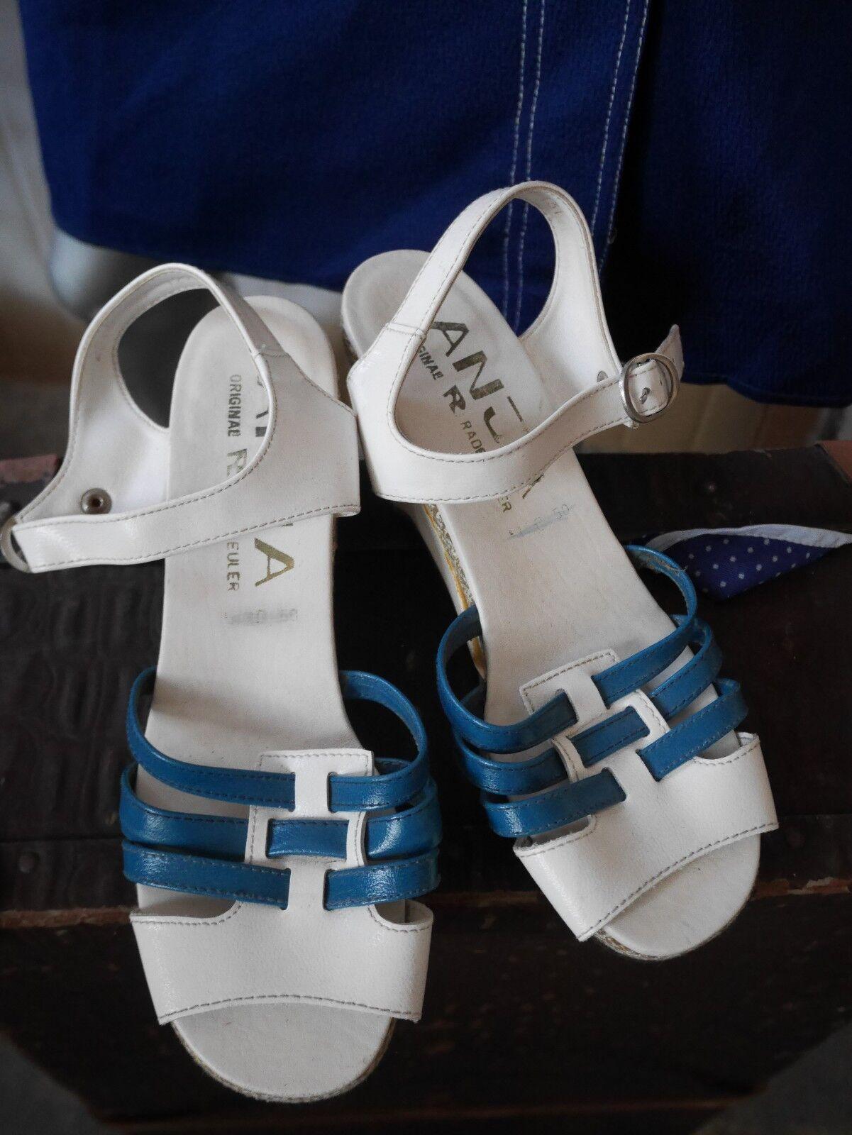 Anja Sandale 38 (25,5) été RDA Sandale 70er Blanc True Vintage COMPENSES 70 s