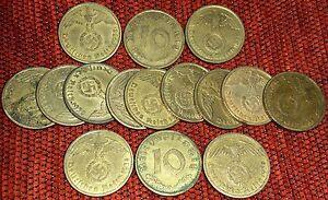Nazi-Coins-1-2-5-10-50-Pfenning-Zinc-Brass-Copper-Coins-II-WW-Original-III-Reich