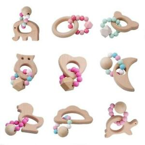 Baby Bracelets Wooden Crochet Beads Teether Silicone Teething Wood Rattles Toy G