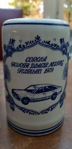 Vtg-Delft-Blue-White-Corona-Mug-Tankard-Stein-Toyota-Dealer-Meeting-Febr-1979