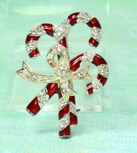 Vintage Red and Clear Rhinestone Gold Candy Cane Pin Vintage Monet Christmas Three Candy Cane Pin Monet Rhinestone Triple Candy Cane Pin