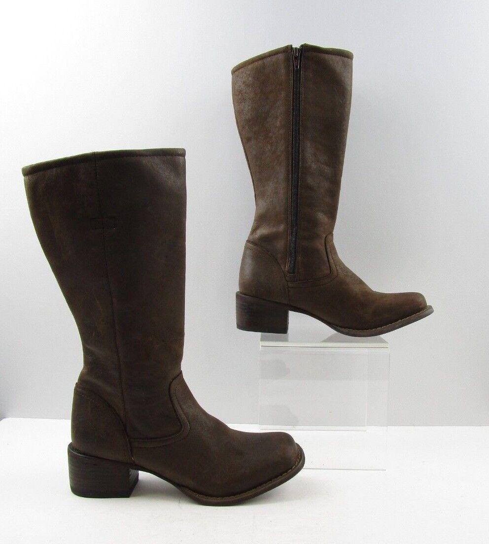 Señoras Durango Dedo Del Pie Cuadrado Cuero Marrón botas De Vaquero Occidental Talla  6.5 M