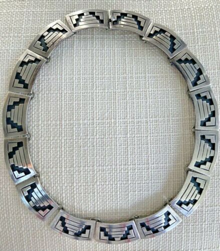 Vintage Mexico 925 Sterling Silver Modernist Curved Link Chain Heavy Necklace 17