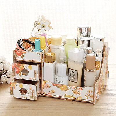 New DIY Wood Organizer Drawer Cosmetic Jewellery Storage Box Home Decor Gift