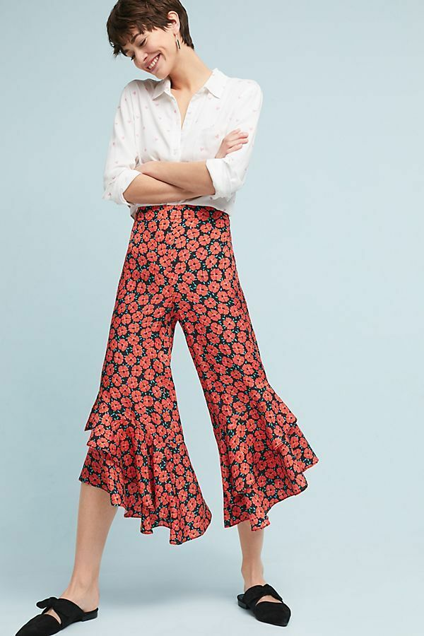 New Anthropologie Virginie Ruffled Wide-Leg Trousers by Anthropologie. size 12