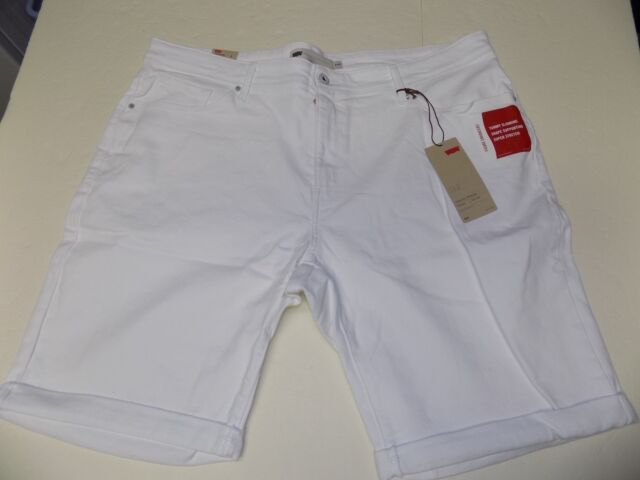 81be1d12 LEVI 512 PERFECTLY SHAPING STRETCH BERMUDA SHORTS PLUS SZ 24W -WHITE- NWT