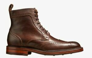 Men-039-s-Bespoke-Handmade-Genuine-Leather-Lace-Up-Derby-Wingtip-Ankle-Marching-Boot