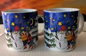 KIKI SUAREZ two mug set Winter Love 1997 Holiday theme made in Japan