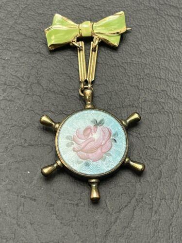 Guilloche Enamel Sweetheart Locket Rose Ship Wheel