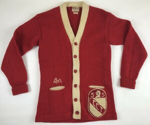 Vintage 50s All Wool Rugby Buffalo Knitting Mills Red Sweater Retro Rare Ebay