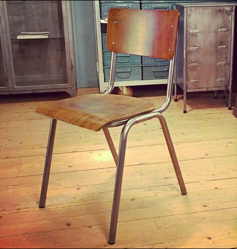 Vintage Retro School Chair Metal Bentwood Ply Stacking Cafe Bar