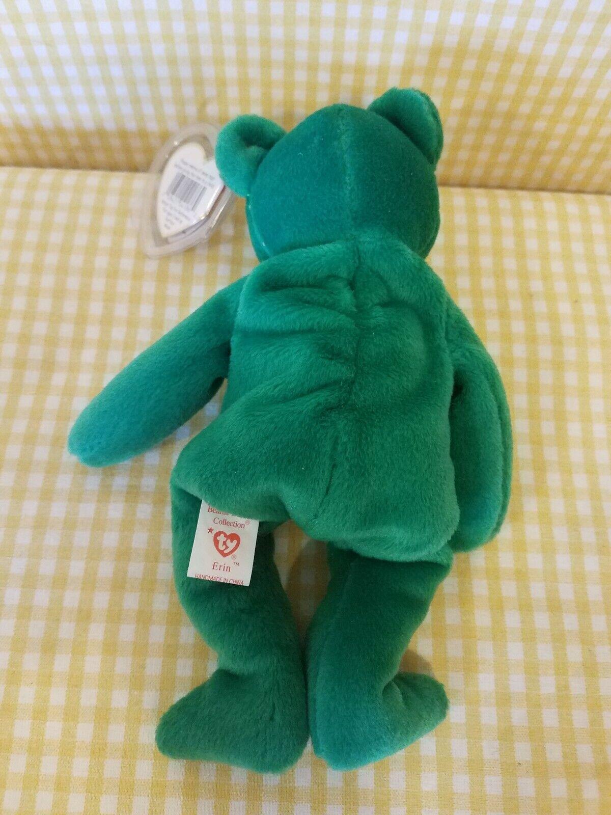 Ty Beanie Baby  Erin the Irish green green green bear HTF GASPORT Error  MWMT  7.5  1997 3932d4