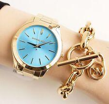 Original Michael Kors Reloj Mujer MK3265 Slim Runway Color:oro nueva