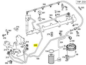 Genuine-Mercedes-Benz-OM612-270-Diesel-Engine-Fuel-Pipe-Valve-to-Pump-6120703332